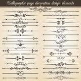 Elementos caligráficos del diseño de la decoración de la página del vintage Decoración del texto de la invitación de la tarjeta d Imagen de archivo libre de regalías