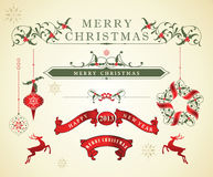 Elementos caligráficos del diseño de la Navidad Fotografía de archivo libre de regalías