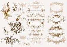 Elementos caligráficos del diseño de la vendimia Fotografía de archivo