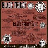 Elementos caligráficos del diseño de la venta de Black Friday Imagenes de archivo