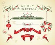 Elementos caligráficos do projeto do Natal Fotografia de Stock Royalty Free