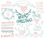 Elementos caligráficos do projeto do Natal ajustado do vetor Imagem de Stock