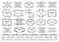 Elementos caligráficos do projeto Os redemoinhos decorativos ou os rolos, vintage moldam, flourishes, etiquetas e divisores Illus ilustração royalty free
