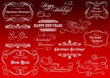 Elementos caligráficos por feriados do Natal Fotografia de Stock