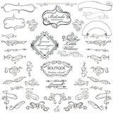 Elementos caligráficos que remolinan, cintas, encrespadas stock de ilustración