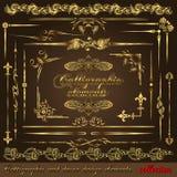 Elementos caligráficos vol2 del diseño del oro stock de ilustración