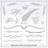 Elementos caligráficos y decorativos del diseño Fotos de archivo
