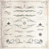 Elementos caligráficos y decorativos del diseño Imagen de archivo