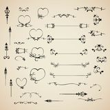 Elementos caligráficos ajustados convite do projeto do vetor e decoração da página Fotos de Stock