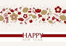 Elementos chinos del Año Nuevo ilustración del vector