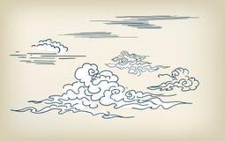 Elementos chinos japoneses del diseño del ejemplo del vector del estilo de las nubes stock de ilustración