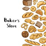 Elementos coloreados dibujados mano de la panadería del vector Foto de archivo libre de regalías