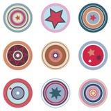 Elementos coloreados retros del vector Imagen de archivo libre de regalías