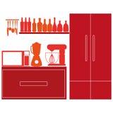 Elementos coloridos à moda da cozinha no fundo Ilustração Royalty Free