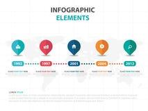 Elementos coloridos abstractos de Infographics de la cronología del negocio del perno, ejemplo plano del vector del diseño de la