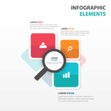 Elementos coloridos abstractos de Infographics del negocio de la lupa, ejemplo plano del vector del diseño de la plantilla de la  Imagen de archivo
