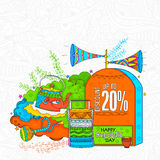 Elementos coloridos da venda para o dia indiano da república ilustração do vetor