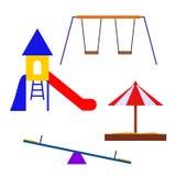 Elementos coloridos do campo de jogos das atrações Fotos de Stock