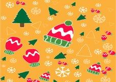 Elementos coloridos do molde do fundo do vetor da bandeira do Natal como presentes e decorações ilustração royalty free