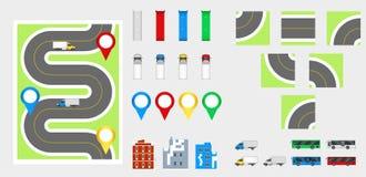 Elementos com estrada, transporte do projeto da arquitetura da cidade, construções, pinos da navegação Ilustração eps 10 do vetor Imagem de Stock Royalty Free