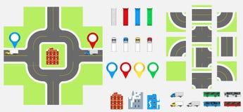 Elementos com estrada, transporte do projeto da arquitetura da cidade, construções, pinos da navegação Ilustração eps 10 do vetor Fotos de Stock Royalty Free