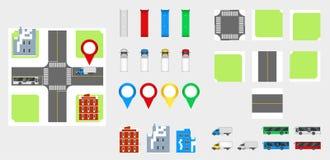 Elementos com estrada, transporte do projeto da arquitetura da cidade, construções, pinos da navegação Ilustração eps 10 do vetor Foto de Stock Royalty Free