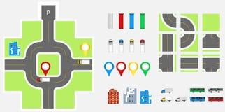 Elementos com estrada, transporte do projeto da arquitetura da cidade, construções, pinos da navegação Ilustração eps 10 do vetor Imagens de Stock Royalty Free