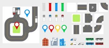 Elementos con el camino, transporte, edificios, pernos del diseño del paisaje urbano de la navegación Ejemplo EPS 10 del vector d Imagen de archivo libre de regalías