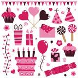 Elementos cor-de-rosa do partido ilustração royalty free