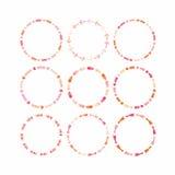 Elementos cor-de-rosa e alaranjados do projeto do círculo para a estrutura e as bandeiras - grupo 2 Fotos de Stock Royalty Free