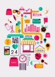 Elementos creativos de las compras Imagen de archivo
