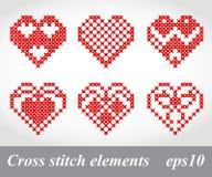 Elementos cruzados del diseño del bordado de la puntada del vector Imagenes de archivo