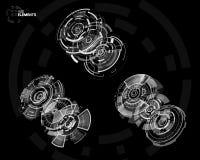 elementos curcular futuristas de 3D HUD Imagem de Stock