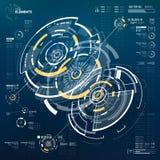 elementos curcular futuristas de 3D HUD Foto de Stock Royalty Free