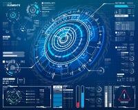 elementos curcular futuristas de 3D HUD Imagens de Stock