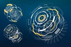 elementos curcular futuristas de 3D HUD Imagem de Stock Royalty Free