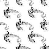 Elementos curtos sem emenda da pauta musical com notas Imagem de Stock Royalty Free