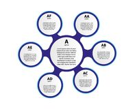elementos 3d infographic de papel para seis opções Infographics do negócio de Metaball Molde para o círculo infographic ilustração stock