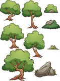 Elementos da árvore e da rocha de floresta dos desenhos animados ilustração royalty free
