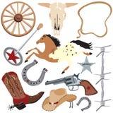 Elementos da arte de grampo do cowboy, isolados no branco Imagens de Stock