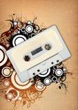 Elementos da cassete áudio & do projeto floral Fotografia de Stock Royalty Free