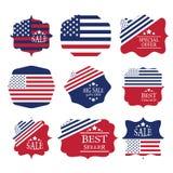elementos da cenografia da etiqueta da venda na bandeira americana c Foto de Stock