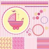 Elementos da cenografia da menina da festa do bebê do álbum de recortes Imagens de Stock Royalty Free
