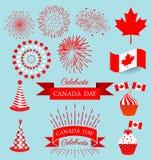 Elementos da cenografia para o dia nacional de Canadá Fotos de Stock