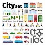 Elementos da cidade isolados no fundo branco Transporte urbano e estradas, ilustração do vetor da vida dos povos das construções ilustração do vetor