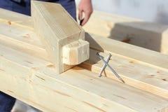 Elementos da construção da madeira imagem de stock