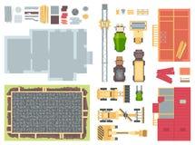 Elementos da construção - o grupo de vetor moderno objeta ilustração stock