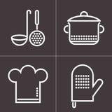 Elementos da cozinha no fundo escuro ilustração stock