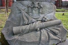 Elementos da decora??o de monumentos de pedra antigos fotografia de stock royalty free