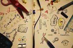 Elementos da educação e da ciência Foto de Stock Royalty Free